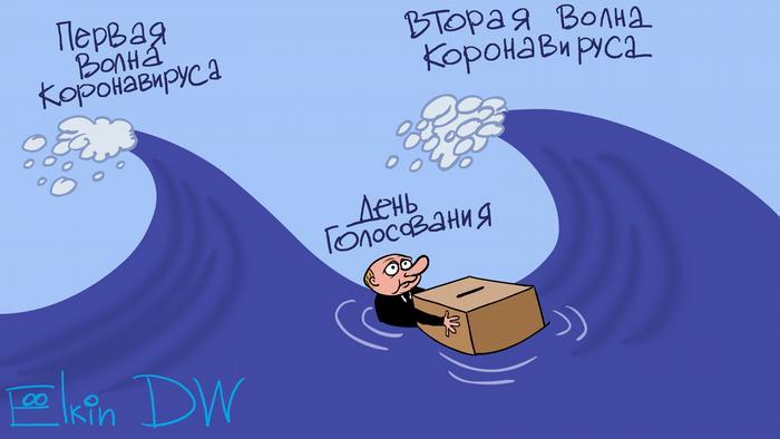 Путин между волнами коронавируса с урной для голосования у руках