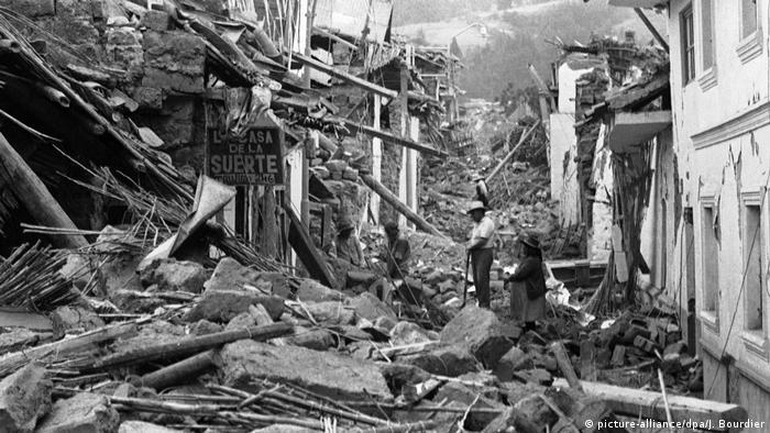 Sin sufrir el alud, en Huaraz, capital del departamento de Áncash, la destrucción fue masiva.