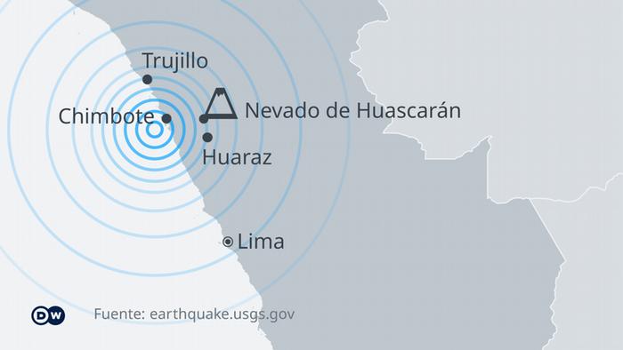El epicentro del sismo fue ubicado en el mar, a 50 km de profundidad, 30 km al oeste de Chimbote, en el departamento de Áncash, 375 km al norte de Lima.