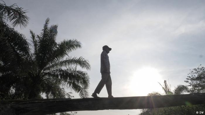 Ein Bewohner des indonesischen Dorfes Rukam läuft durch eine Palmölplantage