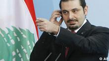 Lebanese Prime Minister Saad Hariri addresses the media after a meeting with German Chancellor Angela Merkel at the chancellery in Berlin, Monday, March 15, 2010. .(AP Photo/Markus Schreiber)