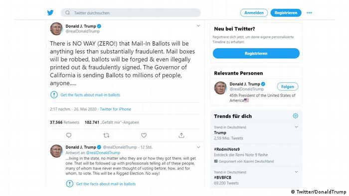 Screenshot Twitter Donald Trump