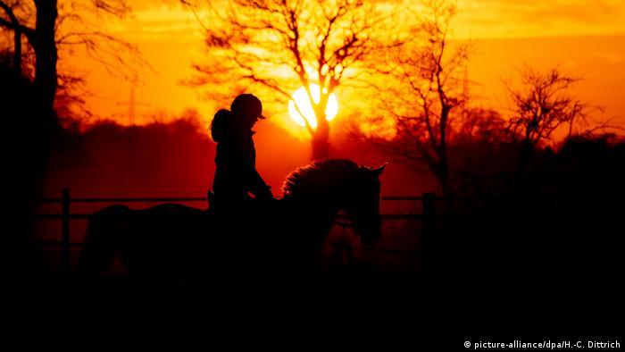 Wardenbueg | Reiterin im Sonnenuntergang (picture-alliance/dpa/H.-C. Dittrich)