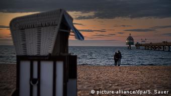 Δειλινό στην παραλία του Ούζεντομ στη Βαλτική