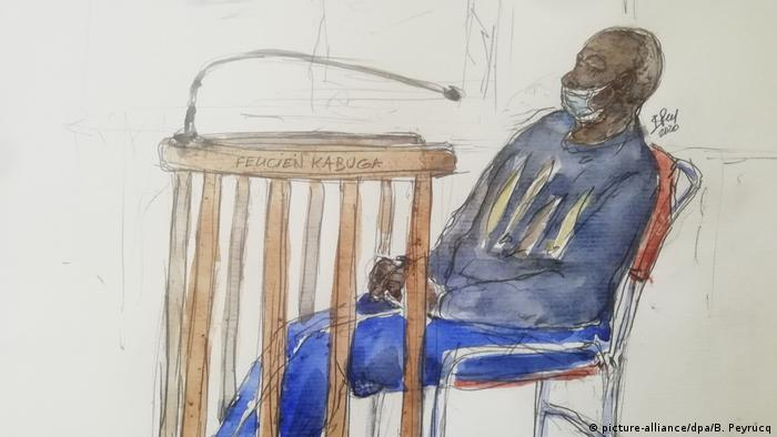 Courtroom drawing of Kabuga in a wheelchair