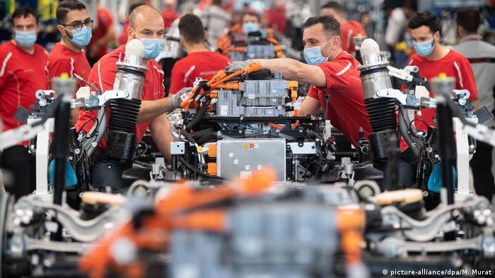 Production line in the Porsche Factory in Stuttgart