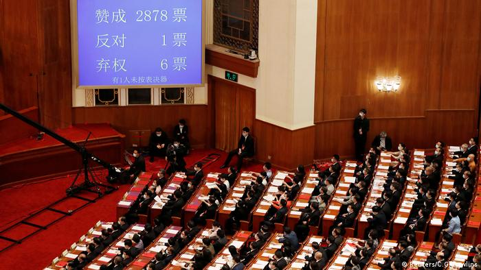 A screen shows the results of the vote on the national security legislation for Hong Kong in China's Great Hall of the People in Beijing