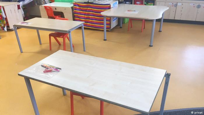 tables in a classroom