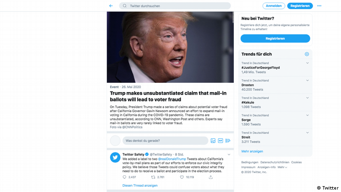 نشانهگذاری توییت ترامپ به منظور راستیآزمایی در توییتر