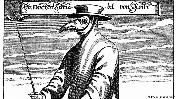 Ilustração do século 19 mostra médico durante combate à peste bubônica