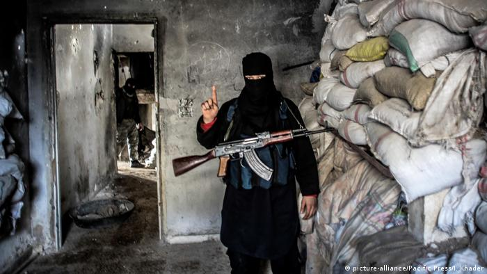 Member of al-Qaida with a submachine gun