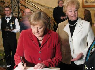 Angela Merkel, front, and Erika Steinbach