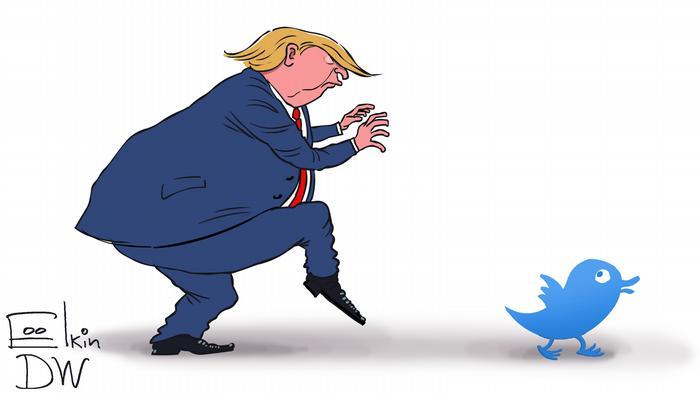 Тръмп подгони Туитър. Карикатура на Сергей Елкин