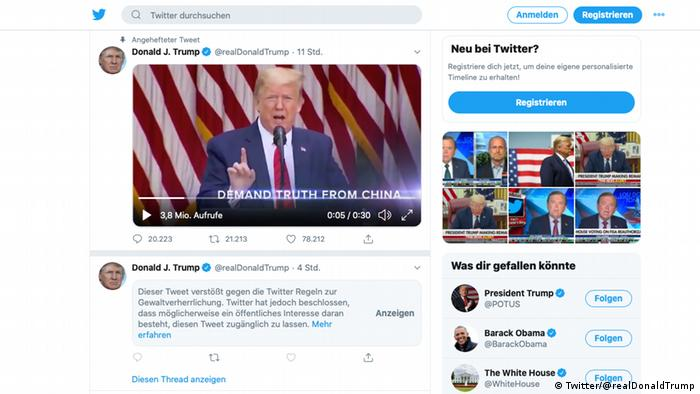 Screenshot Twitter Trump markierter Tweet
