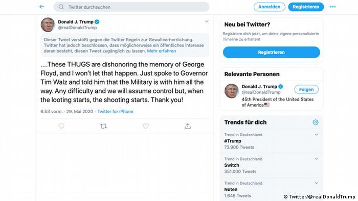 Screenshot Twitter Trump markierter Tweet (Twitter/@realDonaldTrump)