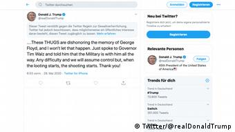 Screenshot Twitter Trump markierter Tweet