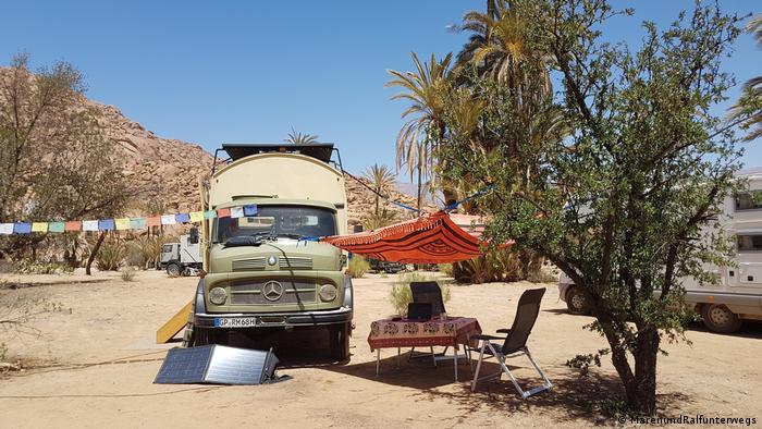 A camper on a camp site in Morocco
