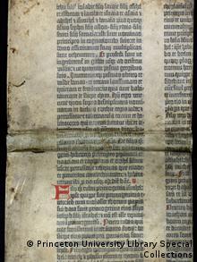 Фрагмент, який зберігається у бібліотеці Принстонського університету декілька століть використовувався як обкладинка для книги 1666 року