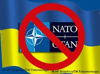 Ukrainian flag behind a crossed out NATO symbol