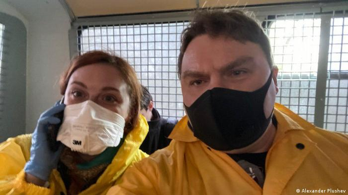 Tatyana Felgenhauer and Alexander Plushev after being taken into custody in Moscow on May 29, 2020