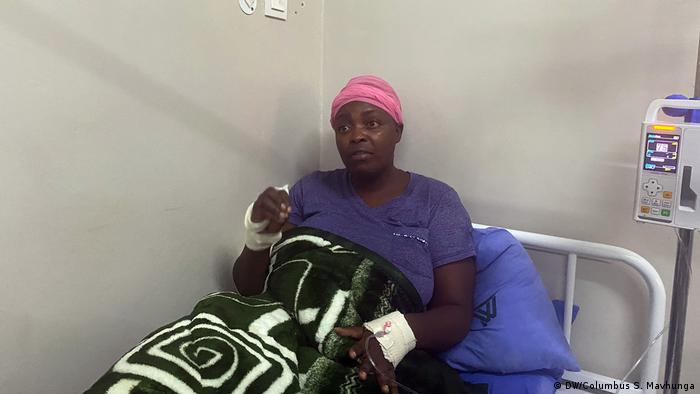 Opposition youth leader Cecillia Chimbiri, seen here in May in hospital in Harare, has now been arrested on charges of fabricating her abduction
