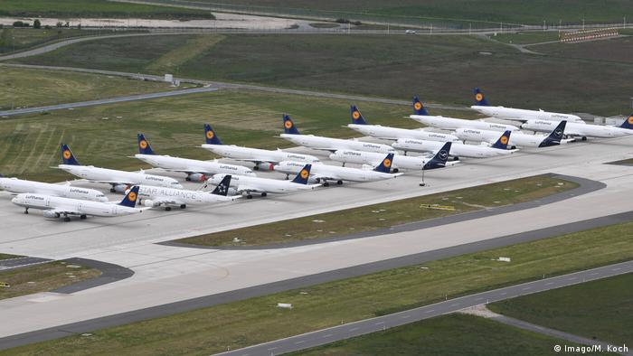 Lufthansa planes parked at BER airport with nowhere to go