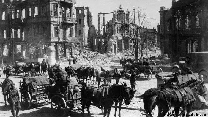 German troops with horses in the destroyed city of Sevastopol in the Crimea, 1942