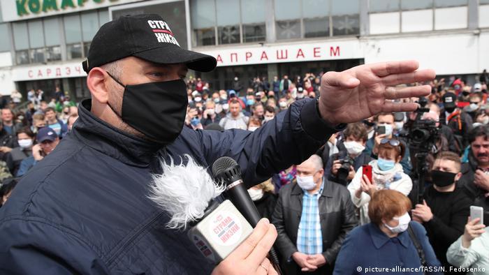 Сергей Тихановский на одном из митингов