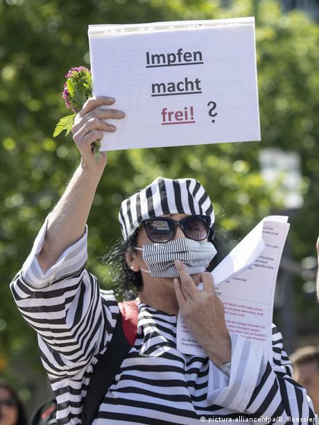 Nawiązanie do napisu z bramy w Auschwitz podczas demontracji antycovidowych. Napis brzmi: Szczepienie czyni wolnym!?