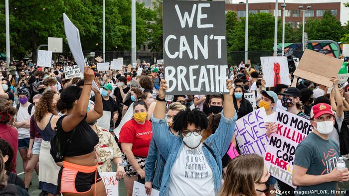 USA Boston Proteste nach dem Tod von George Floyd | Plakate I Can't Breathe