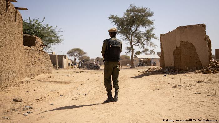 A soldier patrols in Burkina Faso