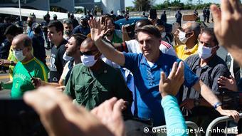 Brasilien Brasilia Präsident Jair Bolsonaro bei Pro-Regierungs Demonstration (Getty Images/A. Anholete)