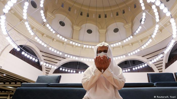 A gentleman praying in a mosque in Saudi Arabia. The country has termed anti-religious thoughts as terrorism