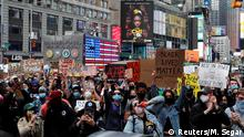 Protesters rally against the death in Minneapolis police custody of George Floyd, in Times Square in the Manhattan borough of New York City, U.S., June 1, 2020. REUTERS/Mike Segar