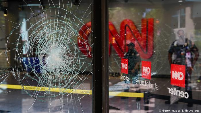Damaged glass at the CNN Center in Atlanta