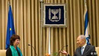 EU foreign policy chief Catherine Ashton meets Israeli President Shimon Peres in Jerusalem in March 2010