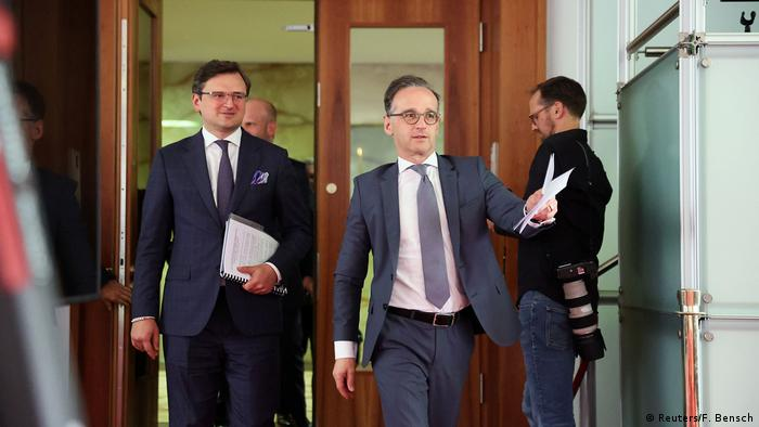 German Foreign Minister Heiko Maas arrives for a news conference with his Ukrainian counterpart Dmytro Kuleba