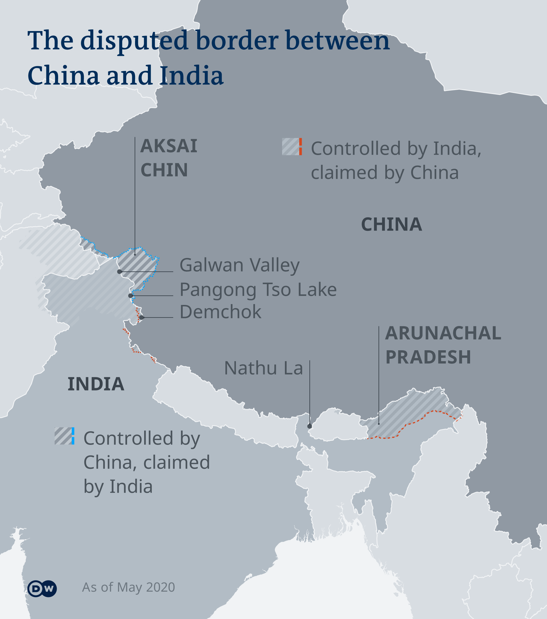 Infographic showing the contested border region between China and India