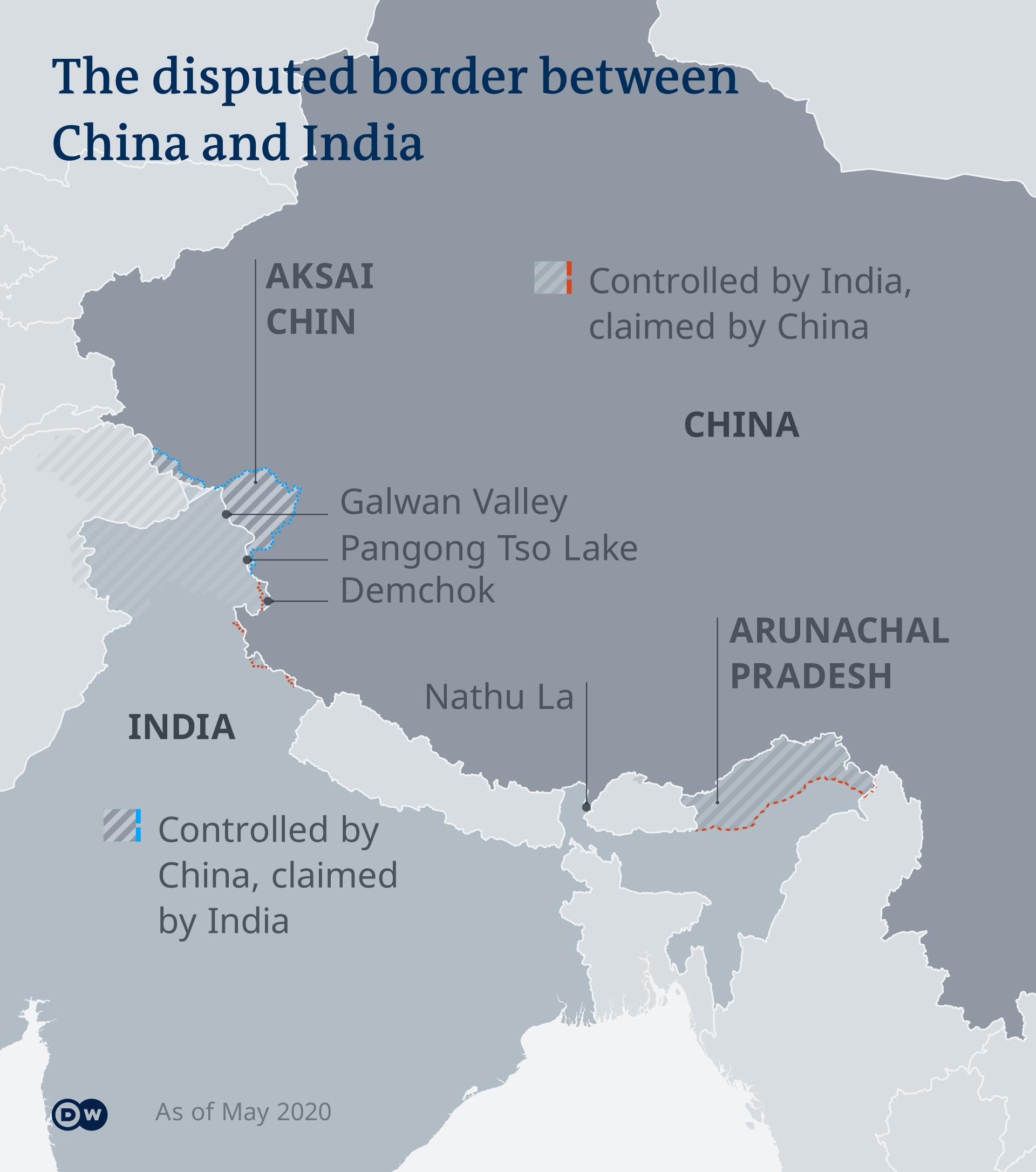 Infografik Umstrittener Grenzverlauf zwischen China und Indien EN