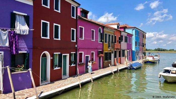 The town of Burano in the Venice lagoon