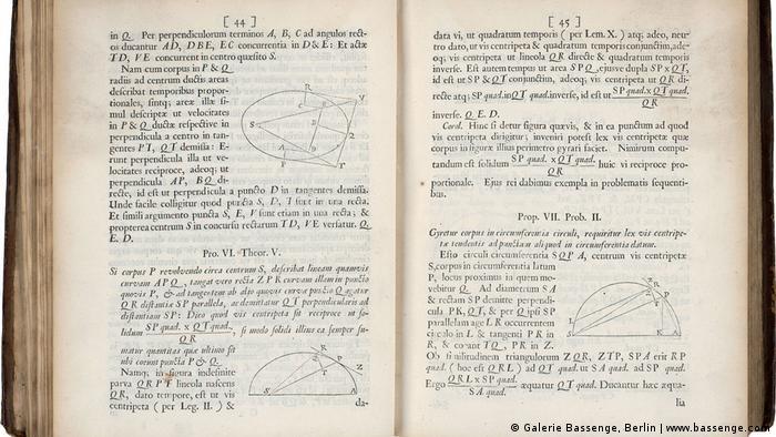 'Philosophiae naturalis principia mathematica,' a book by Isaac Newton from 1686 sold at Galerie Bassenge, Berlin (www.bassenge.com)