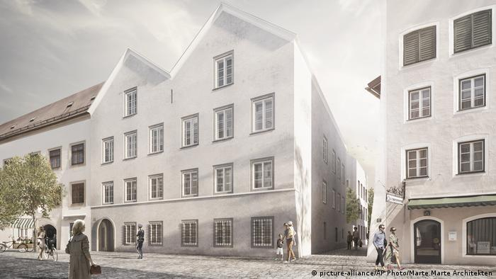 Illustration Geburtshaus von Adolf Hitler in Braunau am Inn in Österreich (picture-alliance/AP Photo/Marte.Marte Architekten)