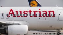 ARCHIV - 21.02.2019, Hessen, Frankfurt/Main: Eine Passagiermaschine der Fluggesellschaft Austrian Airlines rollt auf dem Flughafengelände zur Startbahn. Die Lufthansa-Tochter Austrian Airlines (AUA) nimmt am 15. Juni ihren Flugbetrieb nach einer fast 90-tägigen Corona-Pause wieder auf. (zu dpa «Lufthansa-Tochter AUA hebt ab 15. Juni wieder ab») Foto: Silas Stein/dpa +++ dpa-Bildfunk +++ | Verwendung weltweit