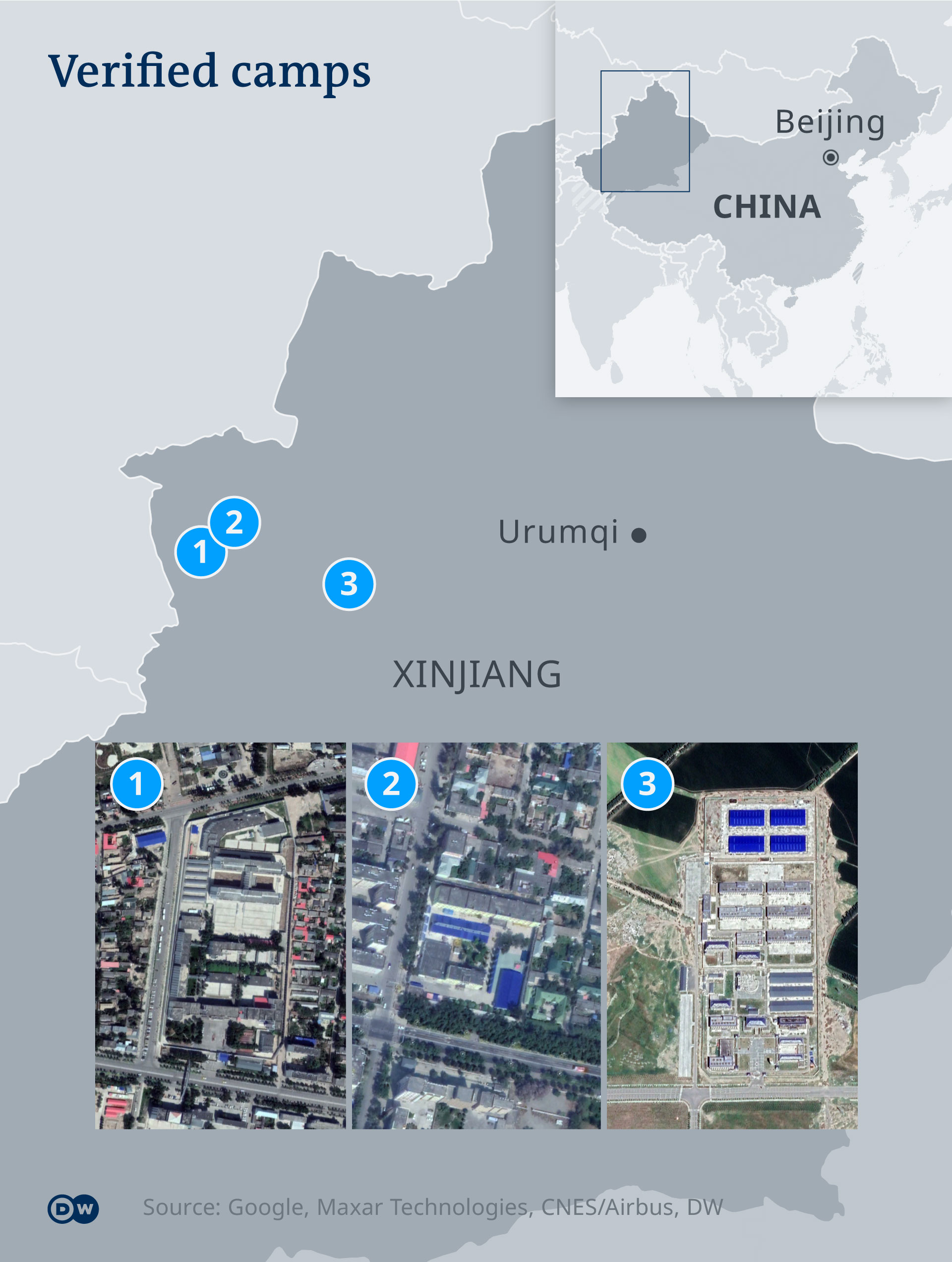 DW infographic map of China's re-education centers for Uighurs in Xinjiang province
