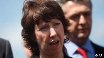 Catherine Ashton Rede in Gaza bei UNRWA
