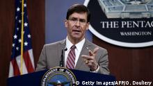 (L-R) Secretary of Defense Mark Esper speaks at a press conference in the briefing room at the Pentagon on March 2, 2020 in Washington, DC. (Photo by Olivier DOULIERY / AFP) (Photo by OLIVIER DOULIERY/AFP via Getty Images)