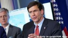 Defense Secretary Mark Esper speaks during the daily briefing on the novel coronavirus, COVID-19, in the Brady Briefing Room at the White House on April 1, 2020, in Washington, DC. (Photo by MANDEL NGAN / AFP) (Photo by MANDEL NGAN/AFP via Getty Images)