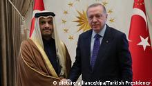 Türkei Präsident Erdogan und Katars Außenminister Al Thani