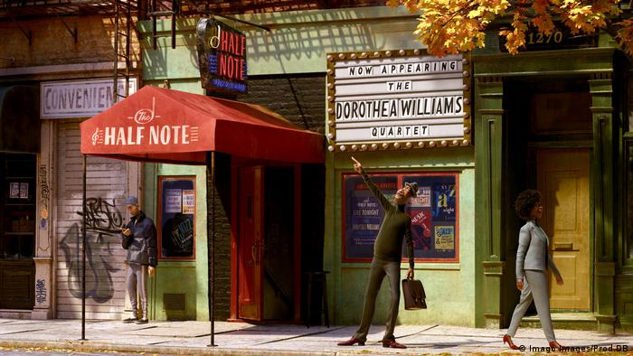 A scene from the film features a man walking outside of a jazz club.