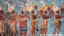 Original Wandmalerei im Tempel, Templo de las Pinturas, Ruinenstadt der Maya, Bonampak, Lacanja Chansayab, Chiapas, Mexiko, Mittelamerika